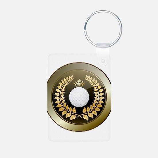 Golden crown golf club shield Keychains