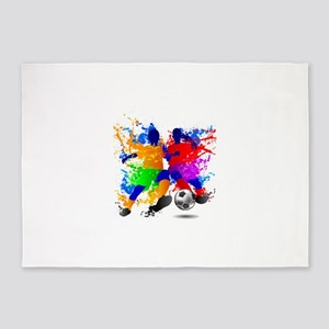 Soccer players dribble paint splash 5'x7'Area Rug