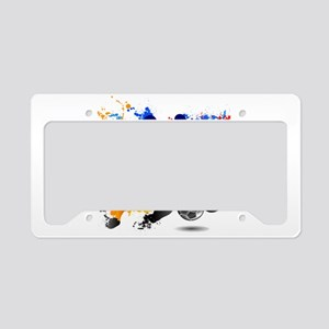 Soccer players dribble paint License Plate Holder