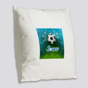 Soccer creative poster Burlap Throw Pillow