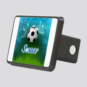 Soccer creative poster Rectangular Hitch Cover