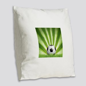 Green style soccer background Burlap Throw Pillow