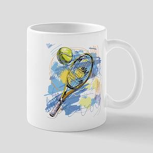 Hand drawn with graffiti tennis sport Mugs