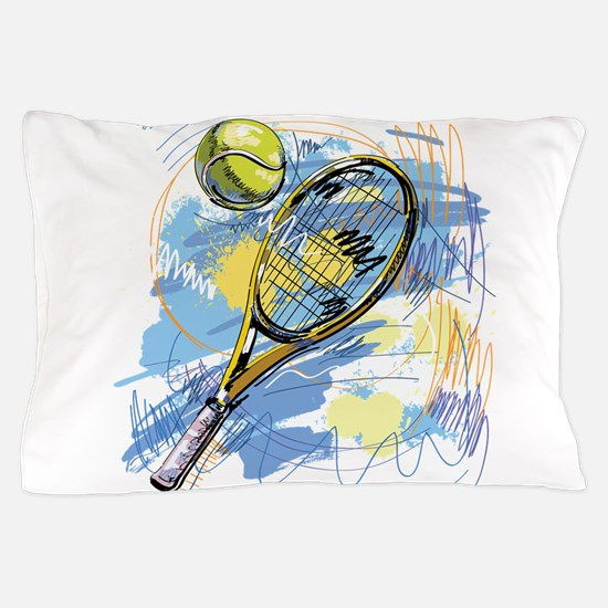 Hand drawn with graffiti tennis sport Pillow Case
