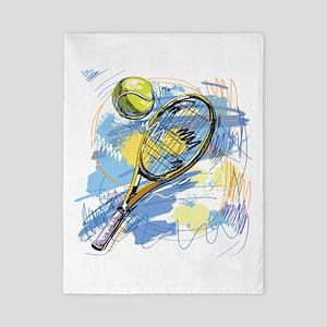 Hand drawn with graffiti tennis sport Twin Duvet