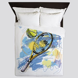 Hand drawn with graffiti tennis sport Queen Duvet