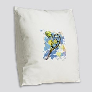 Hand drawn with graffiti tenni Burlap Throw Pillow