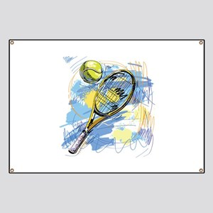 Hand drawn with graffiti tennis sport Banner