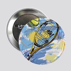 "Hand drawn with graffiti tennis sport 2.25"" Button"