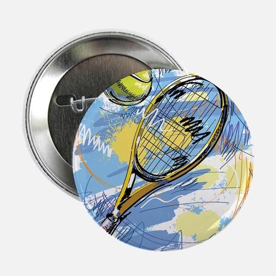 "Hand drawn with graffiti tennis sport 2.25"" Button"