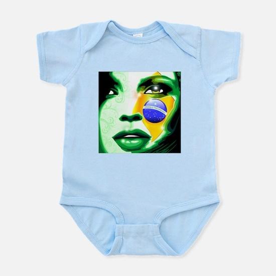 Brazil flag paint on girl face Body Suit
