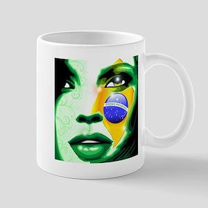 Brazil flag paint on girl face Mugs