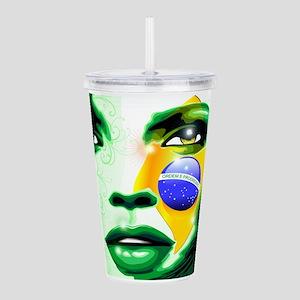 Brazil flag paint on g Acrylic Double-wall Tumbler