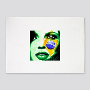 Brazil flag paint on girl face 5'x7'Area Rug