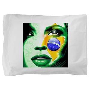 Brazil flag paint on girl face Pillow Sham