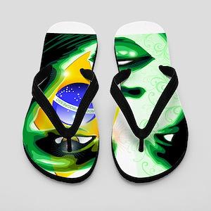 Brazil flag paint on girl face Flip Flops