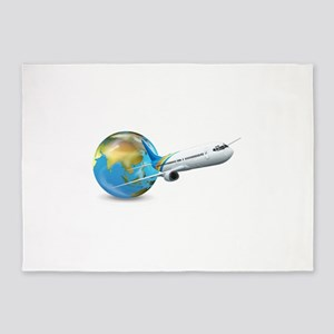 World transport design with globe a 5'x7'Area Rug
