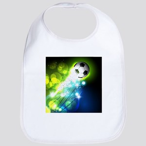 Glowing soccer ball on abstract background Bib