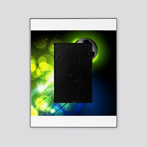Glowing soccer ball on abstract back Picture Frame