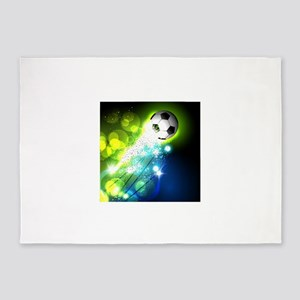 Glowing soccer ball on abstract bac 5'x7'Area Rug