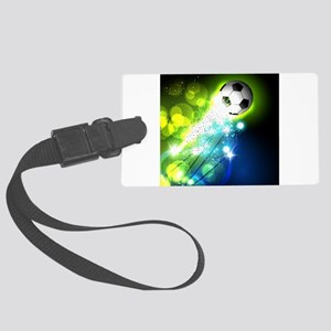 Glowing soccer ball on abstract Large Luggage Tag
