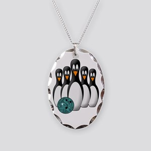 Penguin Bowling Pins Necklace Oval Charm