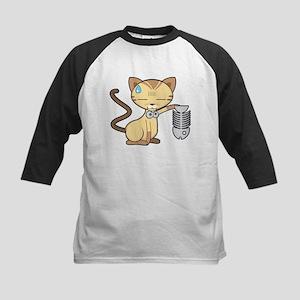 Brown cat holding fish bone Baseball Jersey