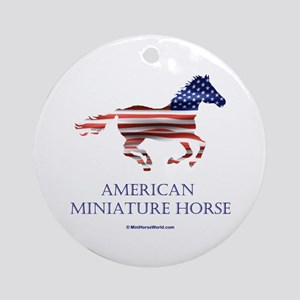 American Miniature Horse Flag Keepsake (Round)