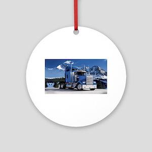 Mountain Blue Kenworth Round Ornament