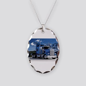 Mountain Blue Kenworth Necklace Oval Charm