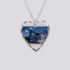 Mountain Blue Kenworth Necklace Heart Charm