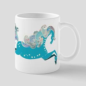 Designed blue horse Mugs