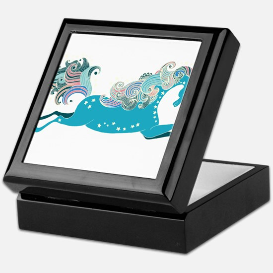 Designed blue horse Keepsake Box