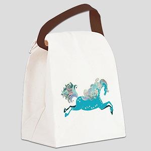 Designed blue horse Canvas Lunch Bag