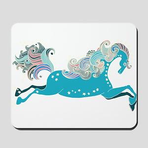 Designed blue horse Mousepad