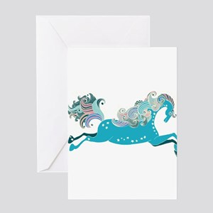 Designed blue horse Greeting Cards
