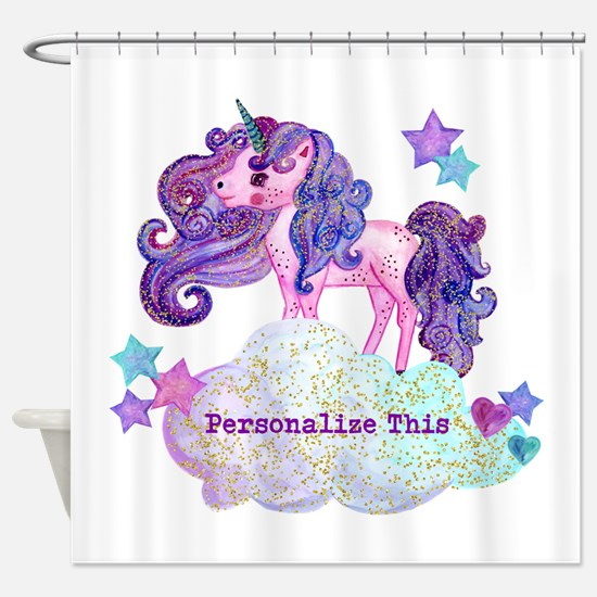 Cute Personalized Unicorn Shower Curtain
