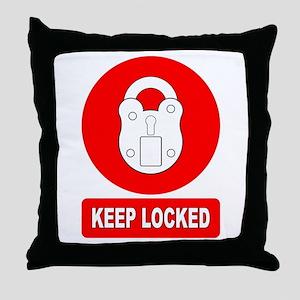 Keep Locked Padlock Sign Throw Pillow