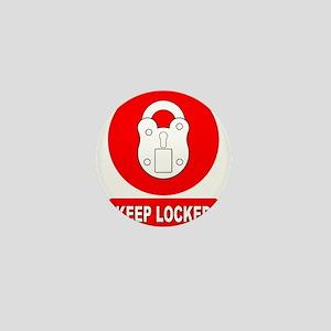 Keep Locked Padlock Sign Mini Button