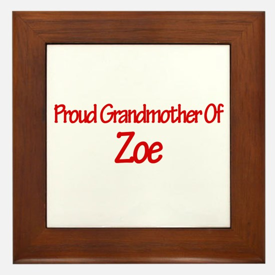 Proud Grandmother of Zoe Framed Tile