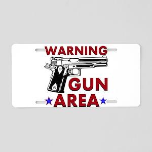 Warning Gun Area Aluminum License Plate