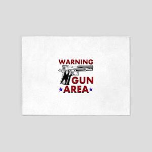 Warning Gun Area 5'x7'Area Rug