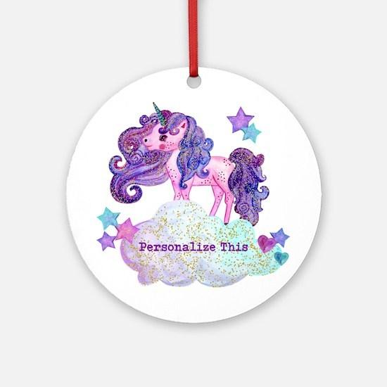 Cute Personalized Unicorn Round Ornament