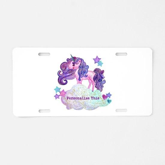 Cute Personalized Unicorn Aluminum License Plate