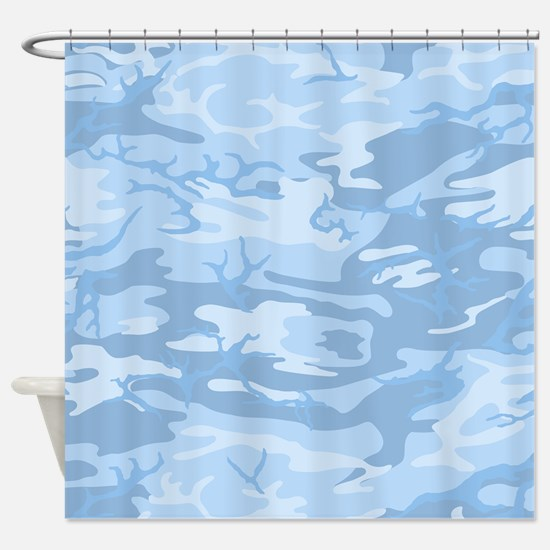Light Blue Camouflage Shower Curtain