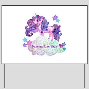 Cute Personalized Unicorn Yard Sign