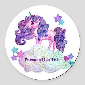 Cute Personalized Unicorn Round Car Magnet