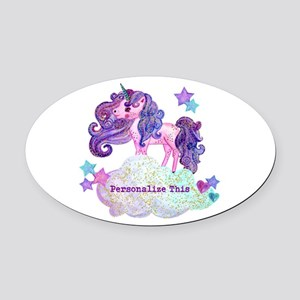 Cute Personalized Unicorn Oval Car Magnet