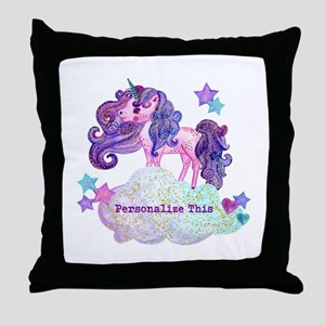 Cute Personalized Unicorn Throw Pillow