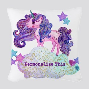 Cute Personalized Unicorn Woven Throw Pillow